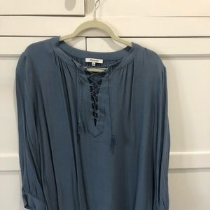 Madewell gray/blue blouse